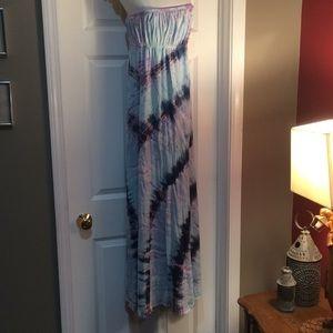 Hard Tail forever blue tie dye tube maxi dress S